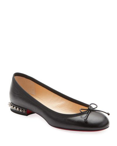 La Massine Leather Spike-Heel Red Sole Ballet Flats