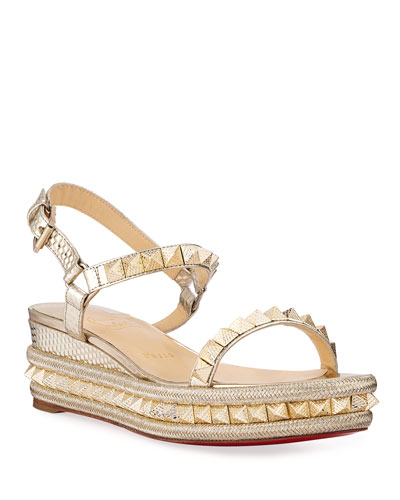 Pyraclou Calf Cubiste Metallic Red Sole Espadrille Sandals