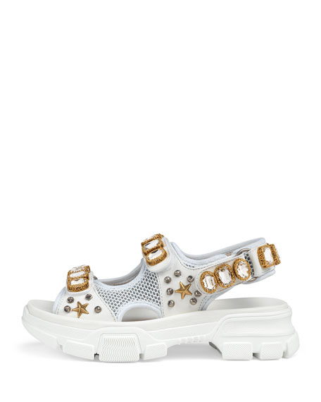 Metallic and Mesh Embellished Sandals w/ Crystals
