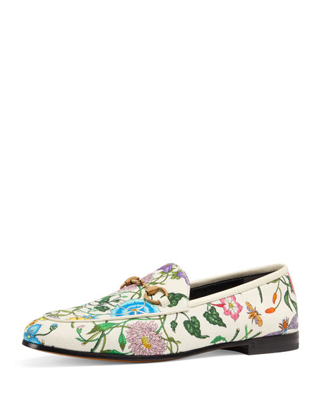 Gucci Floral Canvas Flat Loafers e34d3a363