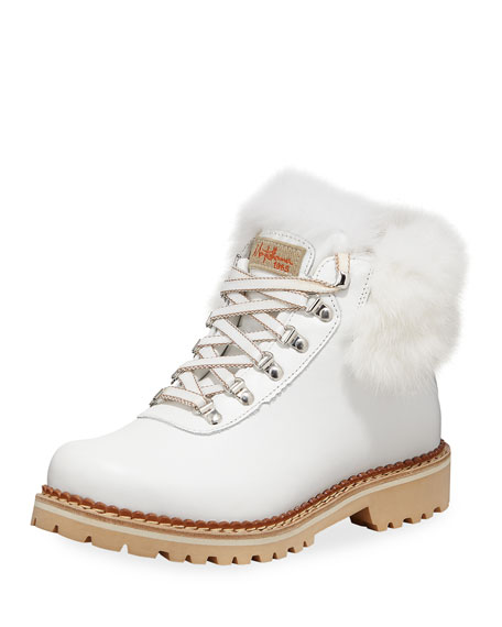 La Montelliana Clara Leather Hiking Boots with Fur