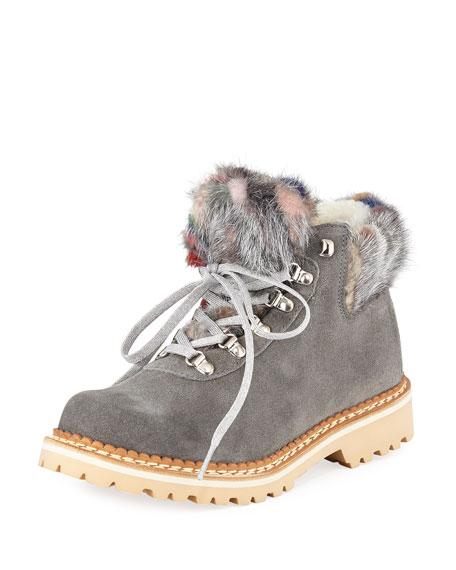 LA MONTELLIANA Clara Suede Fur-Trimmed Boots in Gray