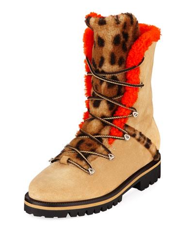 Mernillo Shearling-Trim Printed Tall Boots