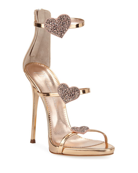 Metallic Leather Heart Sandals