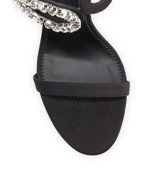 Suede High Sandal with Crystals