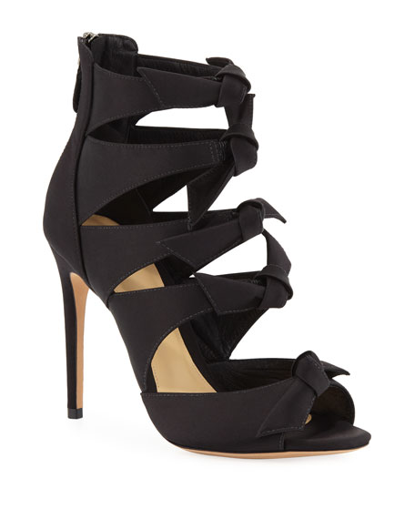 Fetish Satin Bow Sandals in Black