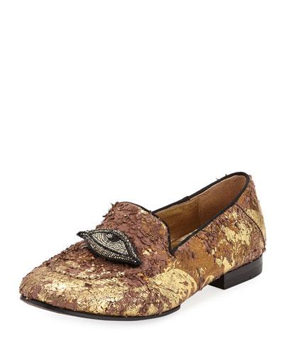 Milky Eye Embellished Loafers