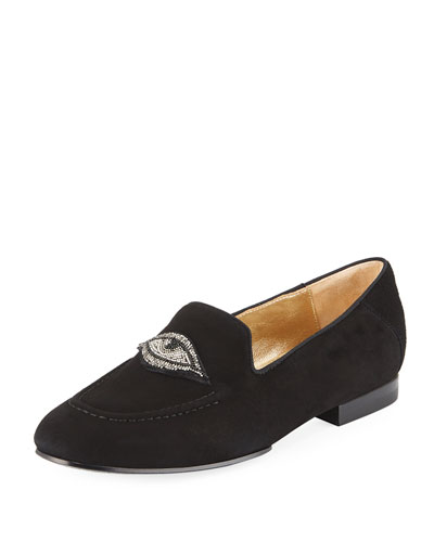 Milky Suede Embellished Loafers