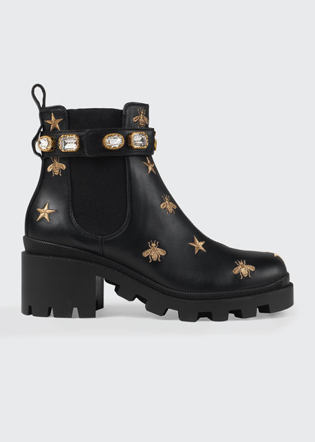 1f57d1d9551 Gucci Star And Bee Embroidered Boots