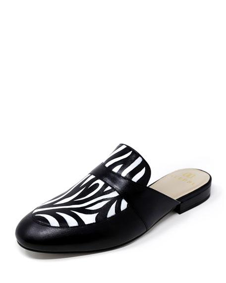 Alepel Hand-Painted Zebra Flat Slide Mules