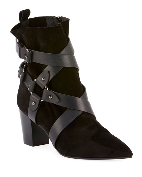 Balmain Jilly Leather and Suede Harness Boots