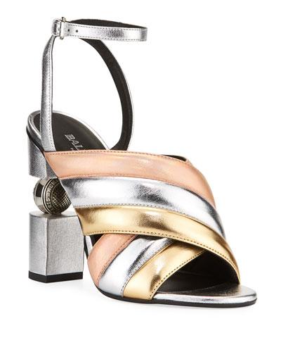 Jana Metallic Quilted Sandals