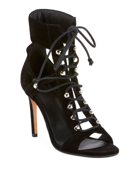 Balmain Jody Lace-Up Suede & Mesh Cutout Sandals