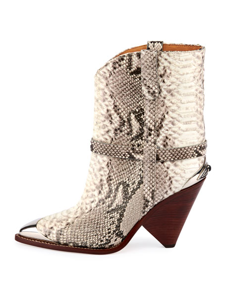 Lamsy Low Snake-Print Leather Western Boots