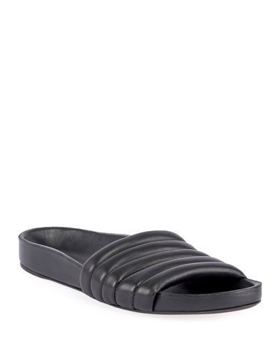 Hellea Quilted Leather Pool Slide Sandals