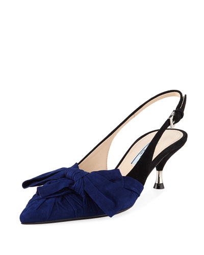 Two-Tone Suede lingback Bow Pumps