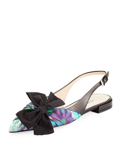 Printed Satin Slingback Flats with Bow