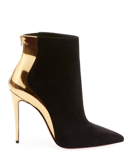 f34fcb08e31d Christian Louboutin Delicotte Suede Metallic Red Sole Booties