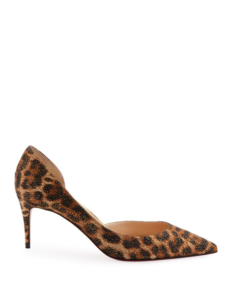 low priced 0e8c5 62b21 Iriza Leopard-Print Half d'Orsay Red Sole Pumps