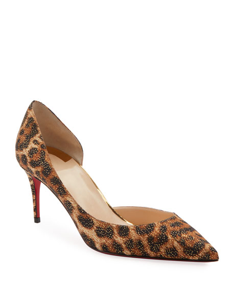 Christian Louboutin Iriza Leopard-Print Half d'Orsay Red Sole