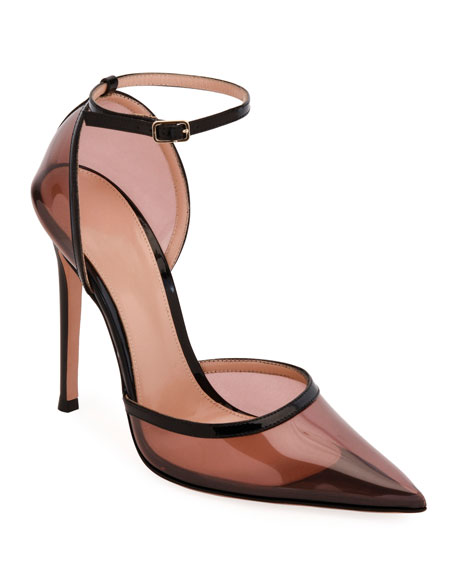 Blush Plexi Ankle-Strap Pumps
