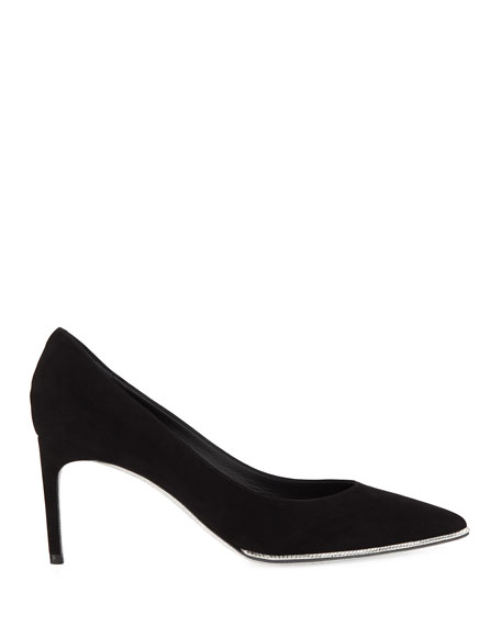 Grace Suede and Strass Pumps, Black