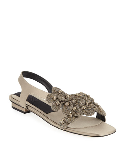 Zinnia Embroidered Flat Sandals  Taupe