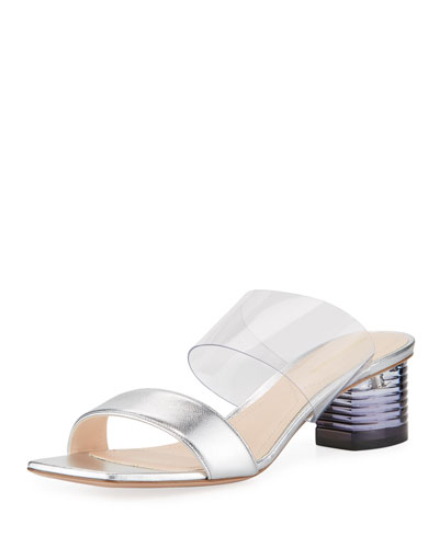 Peggy Metallic Leather & PVC Two-Strap Mules