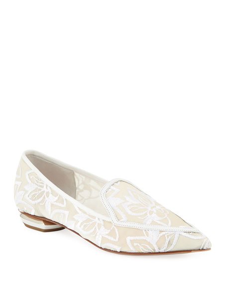 1bb714e0347 Nicholas Kirkwood Beya Orchid Embroidered Mesh Point-Toe Flat Loafers