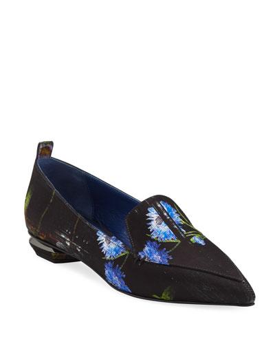 Beya Perfection Digital-Print Satin Loafers