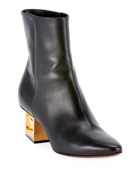 Givenchy Leather Pointed Ankle Booties with Logo Golden
