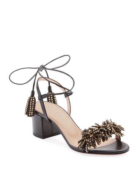 b465e57c1d95 Aquazzura Wild Crystal Fringed Block Sandals