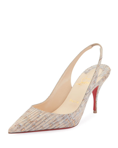 Christian Louboutin Clare Cork Red Sole Slingback Pumps