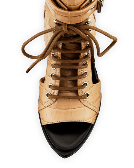 Lace-Up Cutout Croc-Embossed Booties