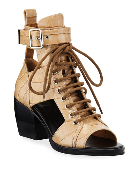 Chloe Lace-Up Cutout Croc-Embossed Booties