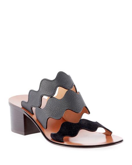 Chloe Wave Leather Slide Sandals