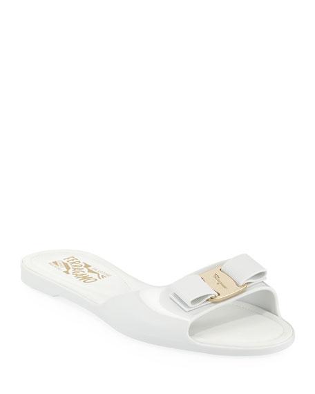 Cirella Flat PVC Jelly Bow Slide Sandals, White
