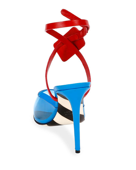 Off-White Zip-Tie Colorblock Mule Pumps