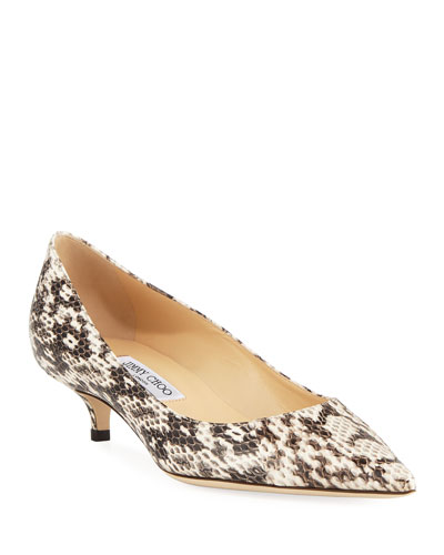 Amelia Snake-Print Leather Pumps