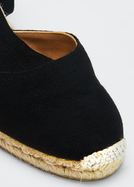 Leather Wedge Espadrille Pumps