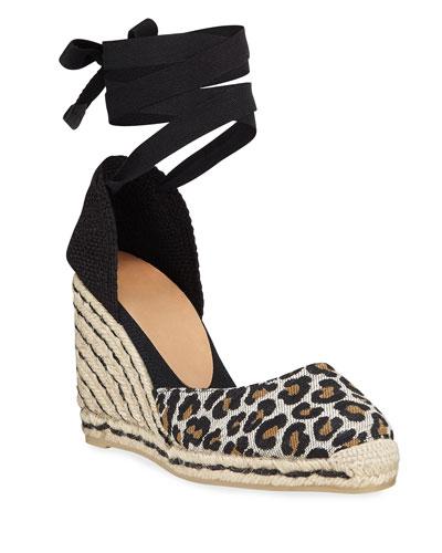 Carina Leopard Wedge Espadrille Sandals