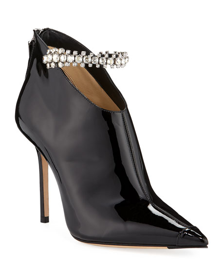 Jimmy Choo Blaize Crystal-Strap Patent Booties
