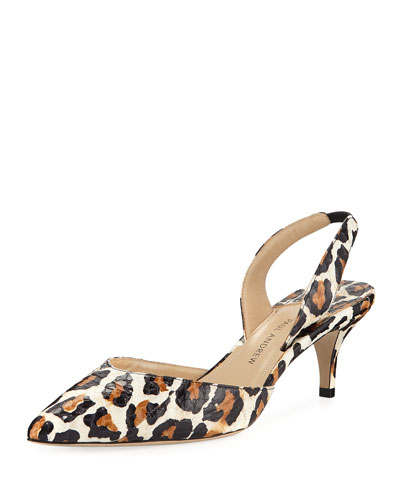 Rhea Leopard-Print Slingback Pumps