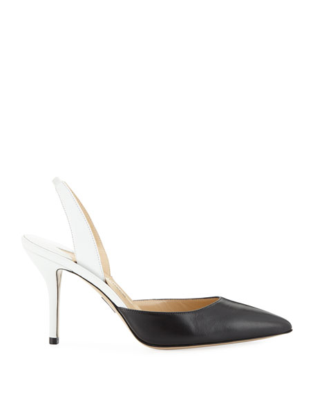 Colorblock Leather Mid-Heel Slingback Pumps
