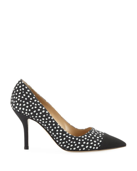 Pump It Up Dotted Pointed Cap-Toe Pumps