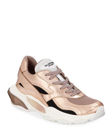 Valentino Garavani Bounce Metallic Leather/Nylon Lace-Up Sneakers