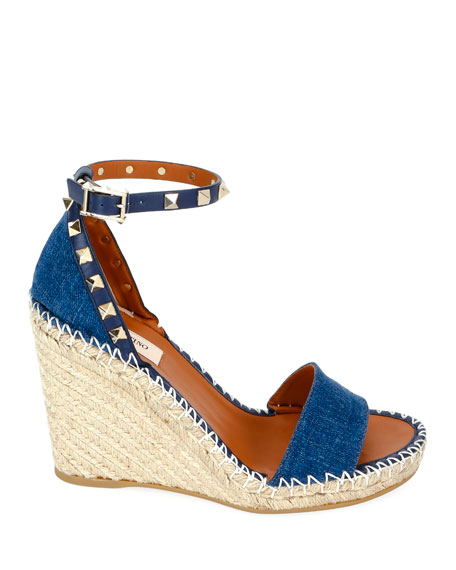 Denim Rockstud Wedge Espadrilles