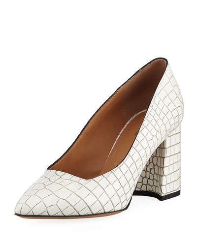 Snake-Embossed Leather Pumps