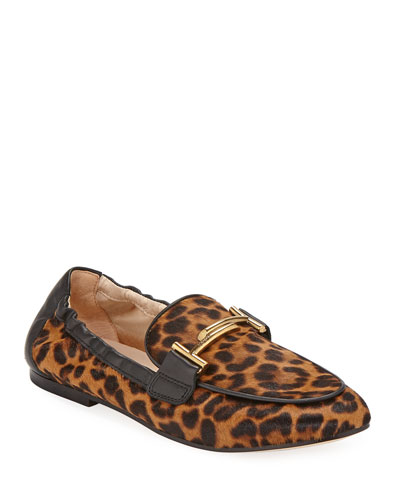 df23bb57c11 Promotion Leopard-Print Calf Hair Double T Loafers Quick Look. Tod s