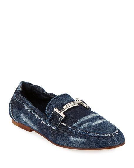 38d21a0a182 Tod s Flat Denim Horsebit Loafers